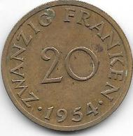 *Saarland 20 Franken 1954   Km 2 Xf - Saar