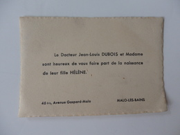 Faire-Part De La Naissance De Leur Fille Hélène Par Le Docteur Dubois 46 Bis, Avenue Gaspard-Malo à Malo-les-Bains (59). - Naissance & Baptême