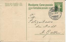 66, Entier Postal 7 1/2 Cts Vert, Obl. St-Gallen 19.1.18 - Entiers Postaux