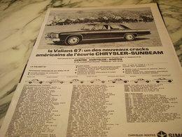 ANCIENNE  PUBLICITE LA VALIANT VOITURE CHRYSLER DE SIMCA 1966 - Cars