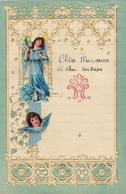 ENFANTINA Lettre Courrier D'enfant Avec Découpi Chromo Papier Gaufré Motif Ange - Découpis