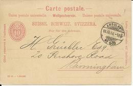 20, Entier Postal 10 Cts, Obl. Ambulant 18.III.04 - Entiers Postaux