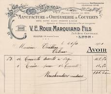 69 LYON FACTURE 1921  Manufacture D' Orèfvrerie & Couverts LE ROUX MARQUIAND Art Nouveau  - X24 Rhône - 1900 – 1949