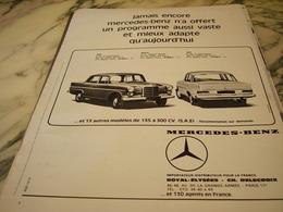 ANCIENNE PUBLICITE VOITURE MERCEDES BENZ  1966 - Voitures