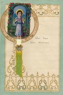 ENFANTINA Lettre Courrier D'enfant Avec Découpi Chromo Papier Gaufré Religieux Coeur De Marie à Système - Découpis