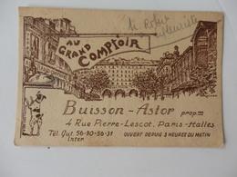 """Carte De Visite """"Au Grand Comptoir"""" Buisson-Astor 4, Rue Pierre-Lescot à Paris-Halles. - Visiting Cards"""