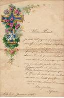 ENFANTINA Lettre Courrier D'enfant Avec Découpi Chromo Papier 1880 Religieux - Découpis