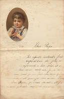ENFANTINA Lettre Courrier D'enfant Avec Découpi Chromo Papier 1879 - Découpis