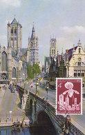 D36151 CARTE MAXIMUM CARD 1955 BELGIUM - THREE TOWERS CITY OF GENT - SKYLINE CP ORIGINAL - Chiese E Cattedrali