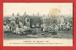 CPA CAMPANA DE MELILLA 1909 - N°66 Rancheria En El Campamento Del Hipodromo, Un Grupo De Rancheros - Melilla