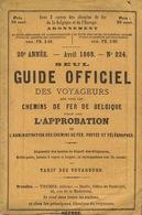 1868 Guide Officiel Des Voyageurs Chemins De Fer Belges Belgique Indicateur Annuaire Train Tram Tramways - Chemin De Fer