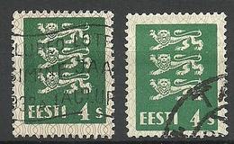 ESTLAND Estonia 1929 Michel 76 Variety B: 1 + Common Stamp For Comparison O - Estonie
