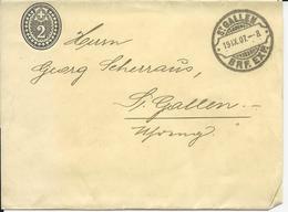 16, 2 Cts, Bande De Journal, Obl. St-Gallen 19.IX.07, Lame De Rasoir - Entiers Postaux