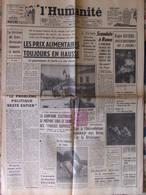 Journal L'Humanité (20 Oct 1958) Prix Alimentaires - Scandale De Rome - R Rivière - Expo - Cornimont - 1950 à Nos Jours