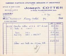 39 LE CROZAT VILLARD SUR BIENNE FACTURE 1964  Fabrique Articles Ménagers Joseph COTTER  Articles De ST CLAUDE   X25 Jura - 1950 - ...