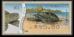 2012IsraelA86ATM Postage Label - Endangered Sea Creatures - Green Sea Turtle - Israele