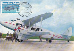 D36153 CARTE MAXIMUM CARD 1987 PAPUA NEW GUINEA - AVIATION DE HAVILLAND DH 86 CP ORIGINAL - Avions