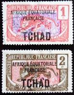 1924 Tchad Yt 19, 20 . Leopard (Panthera Pardus) . Oblitérés - Tchad (1922-1936)