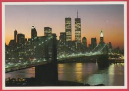 NEW YORK CITY -Glittering Night View Of Lower Manhattan With The Brooklin Bridge* SUP** 2 SCANS - World Trade Center