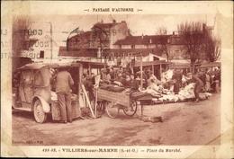 Cp Villiers Sur Marne Val De Marne, Place Du Marché - Francia