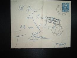 LETTRE TP M. DE GANDON 15F OBL. HEXAGONALE Tiretée 9-6 1952 SPICHEREN MOSELLE (57) + RETOUR LYON INCONNU (69) - Marcophilie (Lettres)