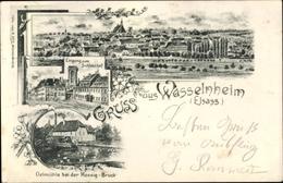Lithographie Wasselonne Wasselnheim Elsass Bas Rhin, Panorama, Schlosshof, Eingang, Ölmühle, Mossig Brücke - France