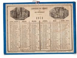 ALMANACH DE CABINET Et Bureau - CALENDRIER  1871  Medaillons Scènes, Allégorie   FEVR 2019 ABL 7 - Calendriers