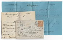 """1884 - LETTRE RECOMMANDEE De CHERBOURG => NAVIRE De GUERRE """"NAVARIN"""" à ILE D'AIX (CHARENTE INFERIEURE) - DESTINATION ! - Marcophilie (Lettres)"""