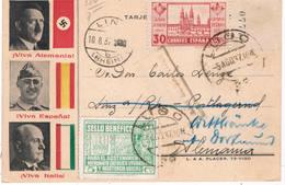Postal De Lugo A Alemania Con Efigie De Franco, Hitler Y Mussolini - 1931-Hoy: 2ª República - ... Juan Carlos I