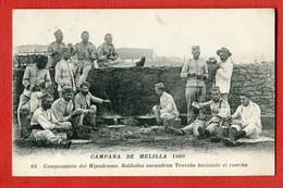 CPA CAMPANA DE MELILLA 1909 - N°61 Campamento Del Hipodromo . Soldados Escuadron Trevino Haciendo El Rancho - Melilla