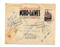 Lettre Recommandee Saint Etienne Sur Caen + Retour + Refuse - Marcophilie (Lettres)