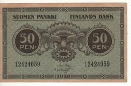 FINLAND   50 Pennia P34  1918 - Finland