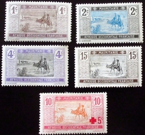 1913 Mauritanie Yt 17, 18, 19, 22, 34 . Crossing Desert + Red Cross Neufs Traces Charnières - Mauritanie (1906-1944)