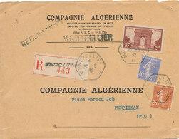 / LETTRE -  RECOMMANDEE  COMPAGNIE  ALGERIENNE  MONTPELLIER A  PERPIGNAN  (1932) - France