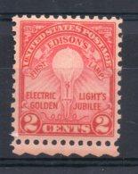 U.S.A - 1929 - 50th Anniversary Edison's 1st Electric Lamp - MNH - Neufs