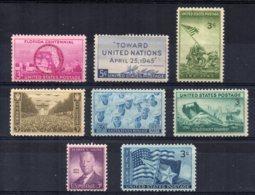 U.S.A - 1945 - 8 Single Stamp Issues  - MNH - Etats-Unis