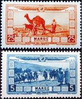 1928 Maroc Yt PA12, PA13 . Fantasia .Plowman With Dromedary And Donkey    Neuf Trace Charnière - Neufs