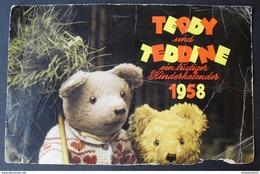 """1958 Aus Dem  """"""""ein Lustiger Kinderkalender """"Teddy U. Teddine"""" , Karten Ausgeschnitten, Ungebraucht, 18 Stück - Spielzeug & Spiele"""