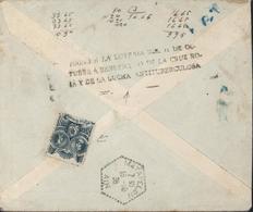 Guerre D'Espagne Enveloppe Publicitaire Fabrique Sucre Censure Militaire Grenade YT 582 X2 Vignette + Cachet Croix Rouge - 1931-50 Cartas