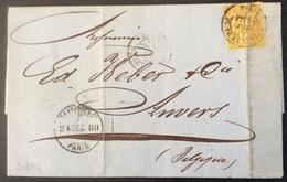 S104 Paris Vers Belgique  Pl De La Bourse Lettre «O.F.Krauss» Sage 25c - Poststempel (Briefe)