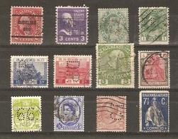 Monde - PERFINS - PERFORES - Petit Lot De 12° - USA - Japon - Inde - Canada - Autriche - Danemark - Portugal - Italie - Timbres
