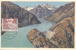 D36197 CARTE MAXIMUM CARD 1956 SWITZERLAND - ALPS MOUNTAINS GRIMSELSEE DAM GRIMSEL HOSPIZ BARRAGE - READ - CP ORIGINAL - Cartes-Maximum (CM)