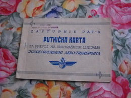 CARTE DE VOYAGE 1956 YOUGOSLAVIE AEROPORT ZASTUPNIK JAT-A BUBROVNIK CROATIE - Titres De Transport
