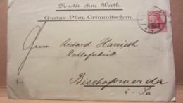 DR: Brief Mit 10 Pf Germania Von CRIMMITSCHAU Nach BISCHOFSWERDA 22.5.02 Knr: 71 -Privat-Druck: Gustav Pfau - Deutschland