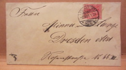 """DR: Klein-Brief (14,9 X 8,1) Mit 10 Pf Germania """"REICHSPOST"""" Von ERFURT Nach DRESDEN Vom 8.10.01 Knr: 56 - Deutschland"""