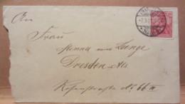 """DR: Klein-Brief (14,9 X 8,1) Mit 10 Pf Germania """"REICHSPOST"""" Von FRANKFURT (Main) Nach DRESDEN Vom 7.9.01 Knr: 56 - Deutschland"""