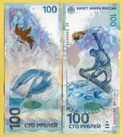 Russia 100 Rubles P-274b 2014 Series Aa Commemorative Sochi Winter Olympics UNC - Russia