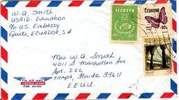 ECUADOR,   Letter,    Butterfly      /    L`ÉQUATEUR,    Lettre,   Papillon - Schmetterlinge