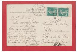 FRANCE -- SEMEUSE FOND PLEIN -- 5c VERT -- EN PAIRE DE CARNET -- CP DE DJELFA (ALGERIE) UN PLI D'ANGLE-- - 1906-38 Semeuse Con Cameo