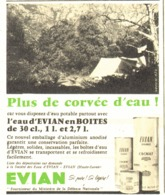"PUB BOITE ALUMINIUM  "" EVIAN ""  1959 (2) - Boîtes"